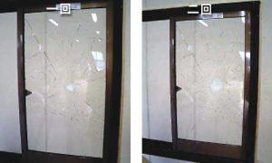 防犯ガラスGCハイパー:1回・2回目の状態